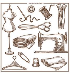 retro atelier or dressmaker tailor salon equipment vector image vector image