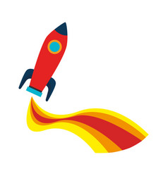 rocket kids toy isolated icon vector image vector image
