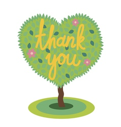 Romantic tree with thank you vector