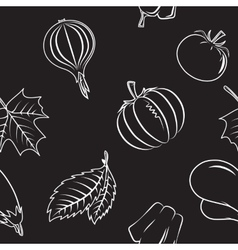 Seamless pattern with autumn vegetables and leaves vector image