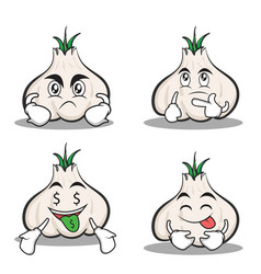 Set garlic cartoon character collection vector