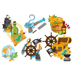set on the theme of pirates fairy-tale cartoon vector image
