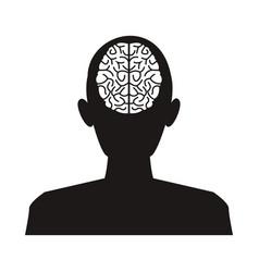 silhouette man brain think idea knowledge vector image vector image