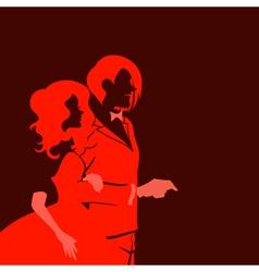 Silhouette of wedding couple vector