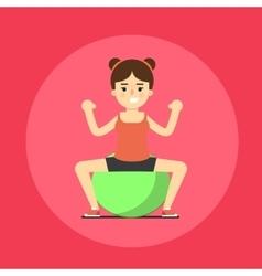 Smiling fitness girl doing exercise vector