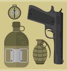 weapons handgun pistol submachine hand gun vector image