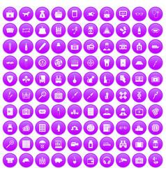 100 case icons set purple vector