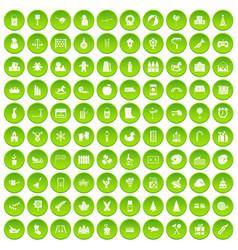 100 preschool education icons set green circle vector