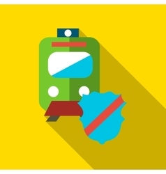 Protection train icon flat style vector