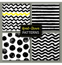 Hand drawn set of geometric patterns vector image
