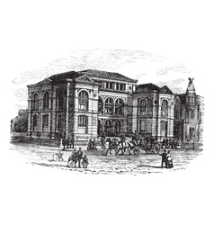 Massachusetts lenox library engraving vector