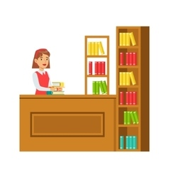 Librarian putting the books back on bookshelf vector