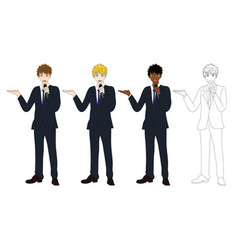 business man with microphone presentation vector image