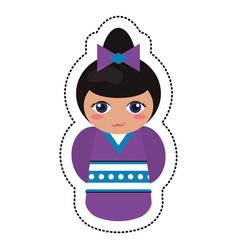 Doll japanese kokeshi geisha kimono vector