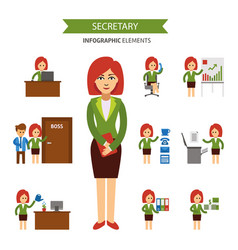 Secretary at work infographic elements business vector