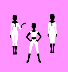 fashion short hared woman model silhouettes vector image
