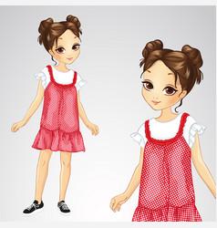 Brunette girl in red sarafan vector