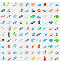 100 nautical icons set isometric 3d style vector image