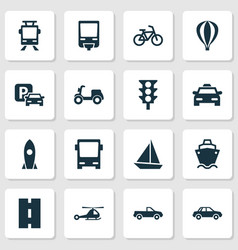 Shipment icons set collection of stoplight road vector