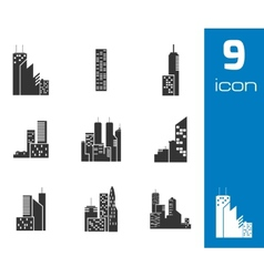 black building icons set vector image