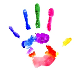 Handprint in vibrant colors of the rainbow vector