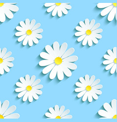 Spring blue background seamless pattern chamomile vector