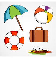 Summer holidays items vector
