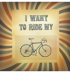 Bicycle retro rays poster vector