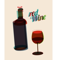 Abstarct vintage poster bottle of red wine vector