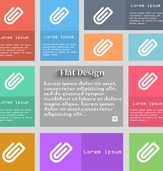 Paper clip icon sign set of multicolored buttons vector