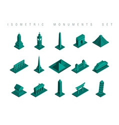 Isometric travel monuments set vector image