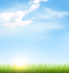 Grass lawn with clouds and sun on blue sky vector image