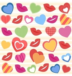 Background with colorful hearts and lips vector image