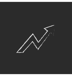 Arrow upward icon drawn in chalk vector