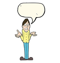 Cartoon man shrugging shoulders with speech bubble vector