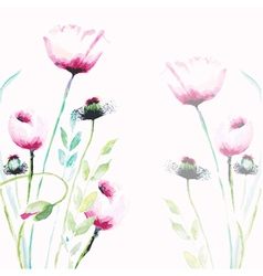 Pink poppy flowers vector
