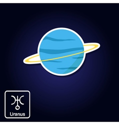 Icons with uranus and astrology symbol of planet vector