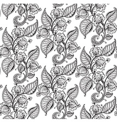 Seamless pattern with hand drawn fancy flower vector