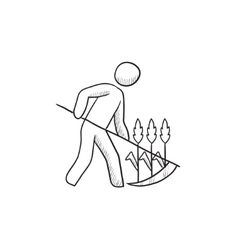 Man mowing grass with scythe sketch icon vector
