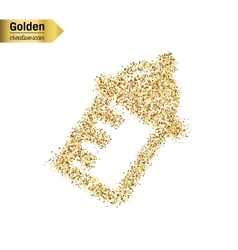 Gold glitter icon of nursing bottle vector