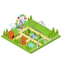 Amusement park isometric view vector