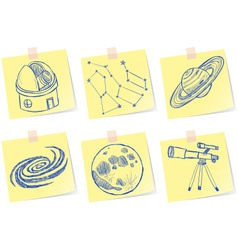 astronomy and observatory sketches on paper notes vector image vector image