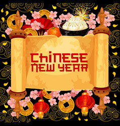 Chinese new year wish scroll greeting card vector