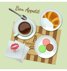 Coffee and snacks set top view vector image