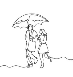 Couple walking under umbrella vector