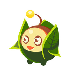 cute fantastic plant character round shape with vector image