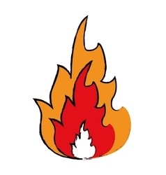 Drawing hot flame spurts fire design vector