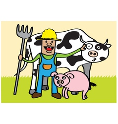 Farmer with animals vector image