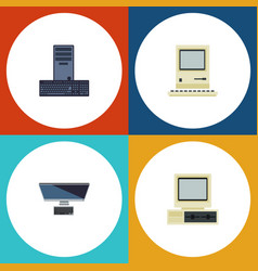 flat icon laptop set of pc computer processor vector image