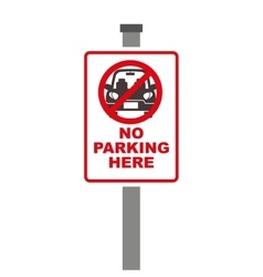 Forbidden sign of parking zone over white vector